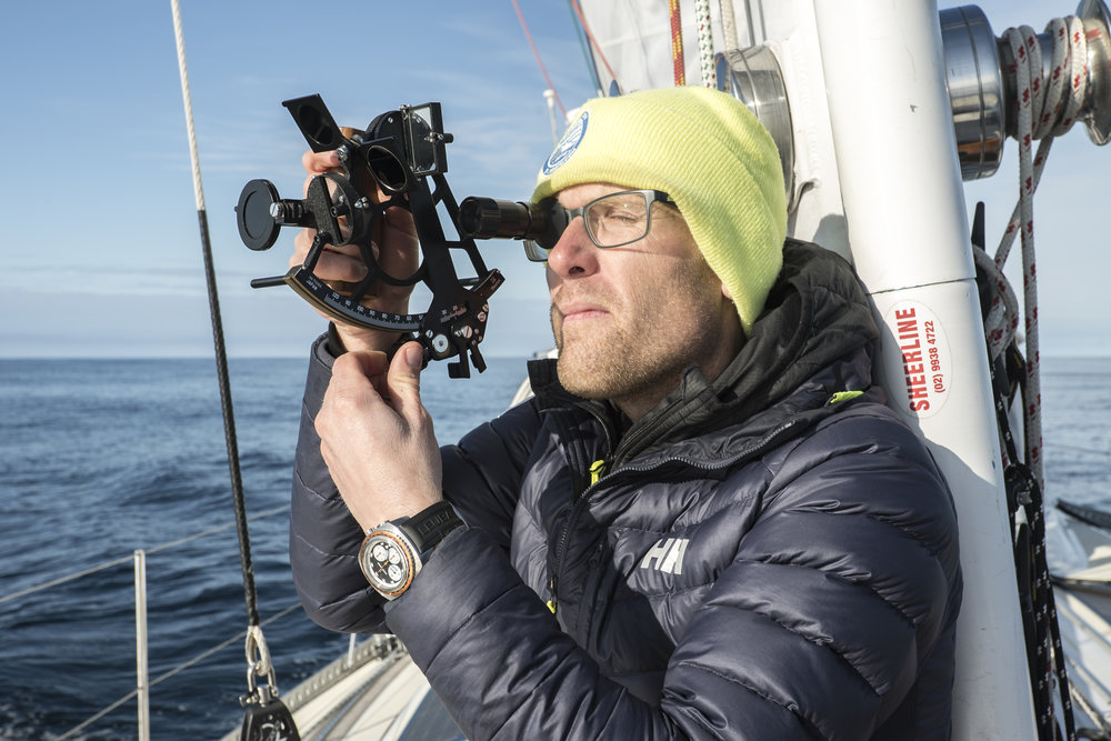 Andy on celestial on a calm day in the Greenland Sea. It'd be the only sun we saw on the entire 7-day passage.