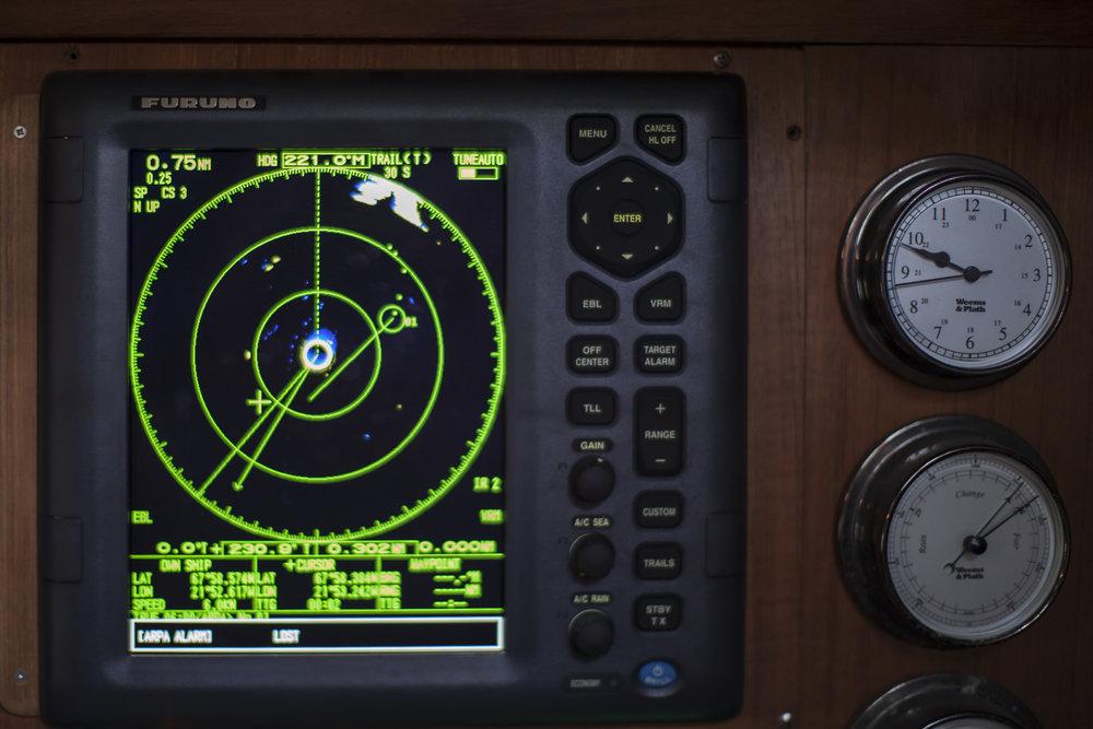 The megaberg on radar, at close range.