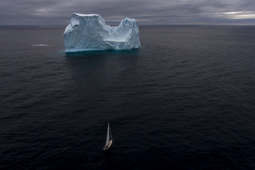 Approaching the iceberg, 100 miles north of Iceland.