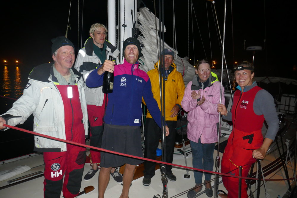 Landfall in Horta in 2017 - we EARNED that champagne after 12 days at sea baby!