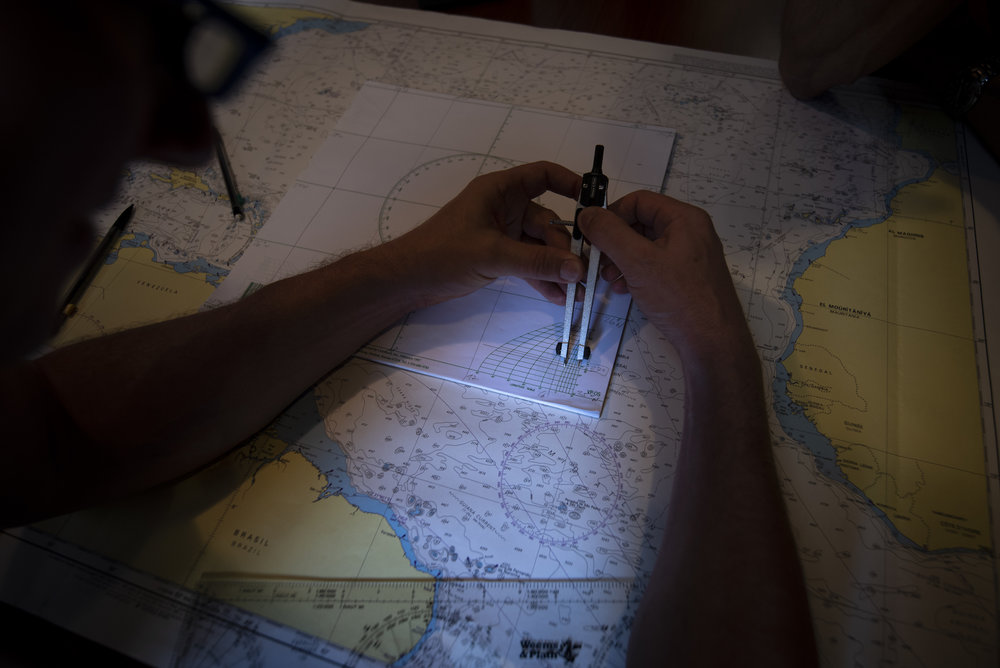 Setting up the plotting sheet for our stretch of ocean, using the longitude scale.