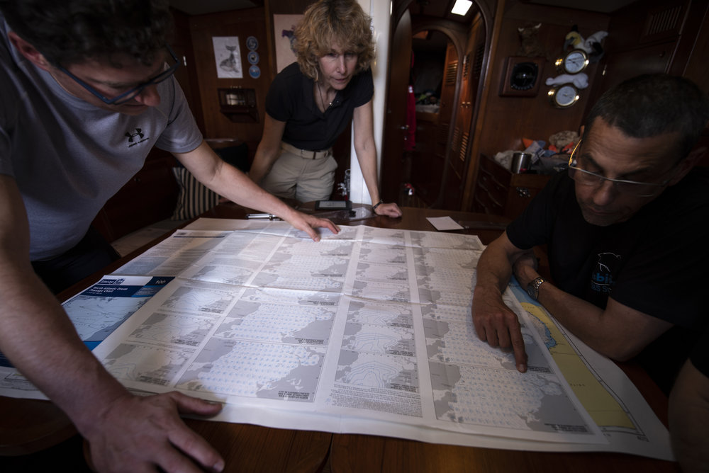 IMRAY's chart 100, with pilot charts for the North Atlantic printed on the back, with Don Street's sailing directions.