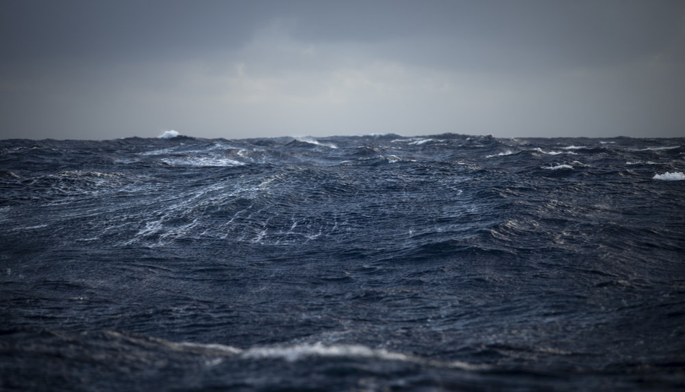 Rough seas on part of the crossing, and moody weather.