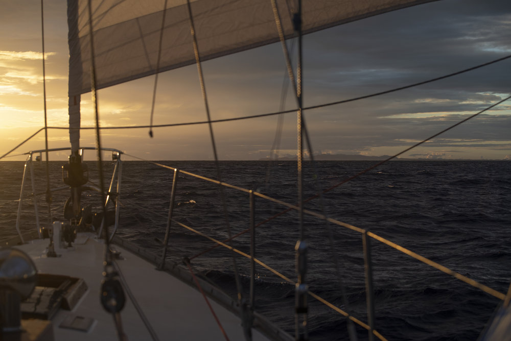 Sunset at landfall, Antigua in the distance.