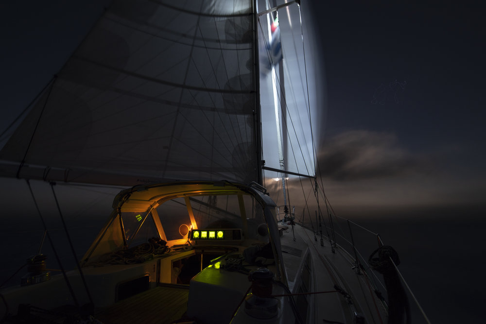 Lighting up the spin at night with the steaming light (and the moon's glow in the distance!).