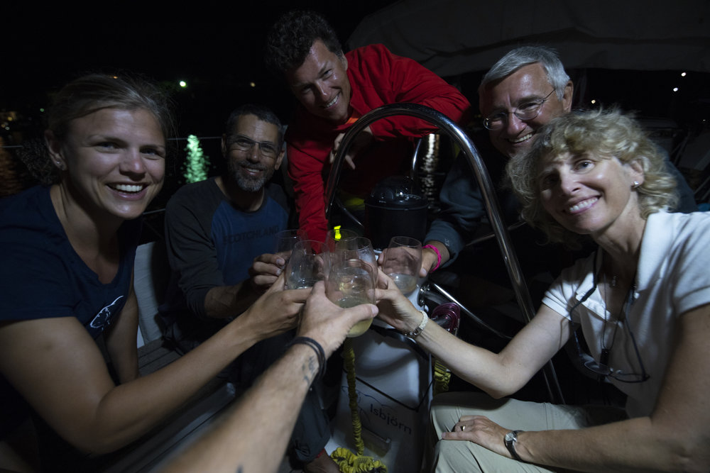 The traditional ISBJORN champagne toast is even better after 20 days at sea!