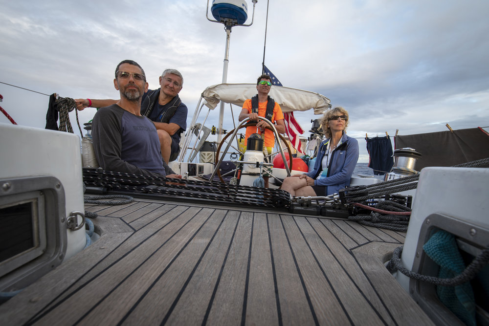 The last dinner at sea. David, Fred, Walter & Etta (L to R), soaking in the sunset.