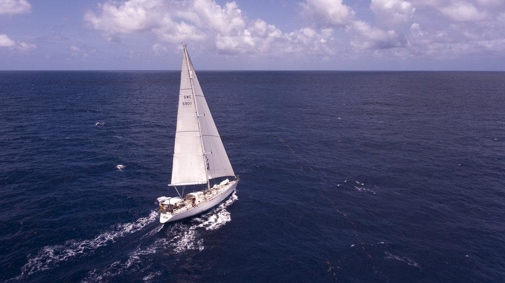 ICEBEAR making 8 knots on a flat sea.