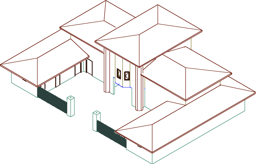 Frank Lloyd Wright's Winslow House modeled in ArchiCAD 3.