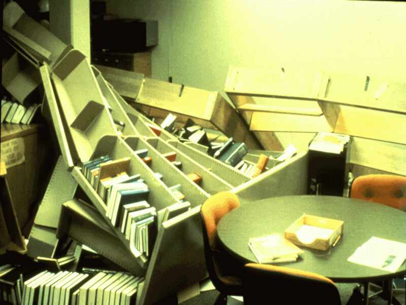 Fallen Bookcases at the Lawrence Livermore Lab - Photograph Credit: USGS.