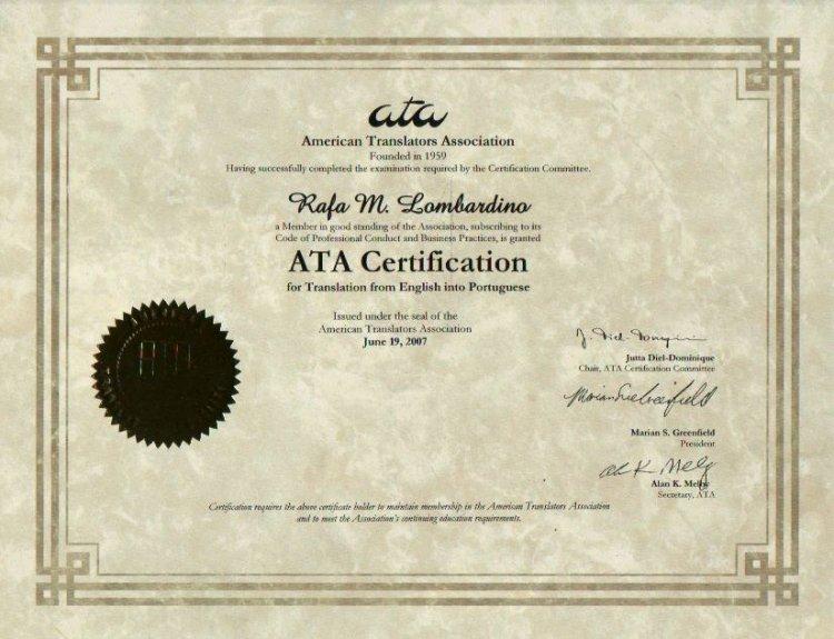 Certificado de inglês para português, Associação Americana de Tradutores, 2007