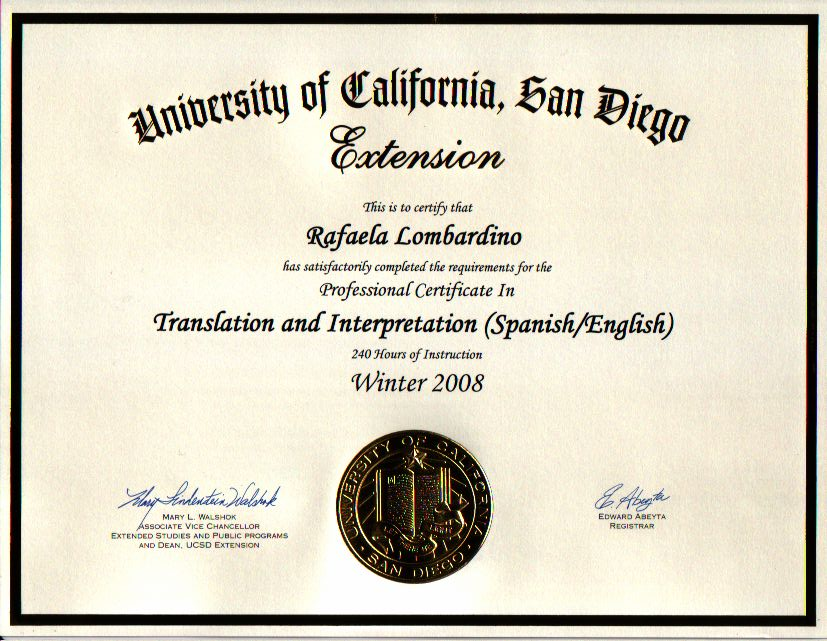 English into Spanish and Spanish into English UCSD - Extension 2008
