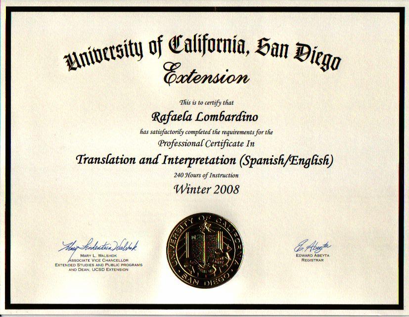 Certificado de inglês para espanhol e espanhol para inglês, curso de Extensão da Universidade da Califórnia em San Diego, 2008