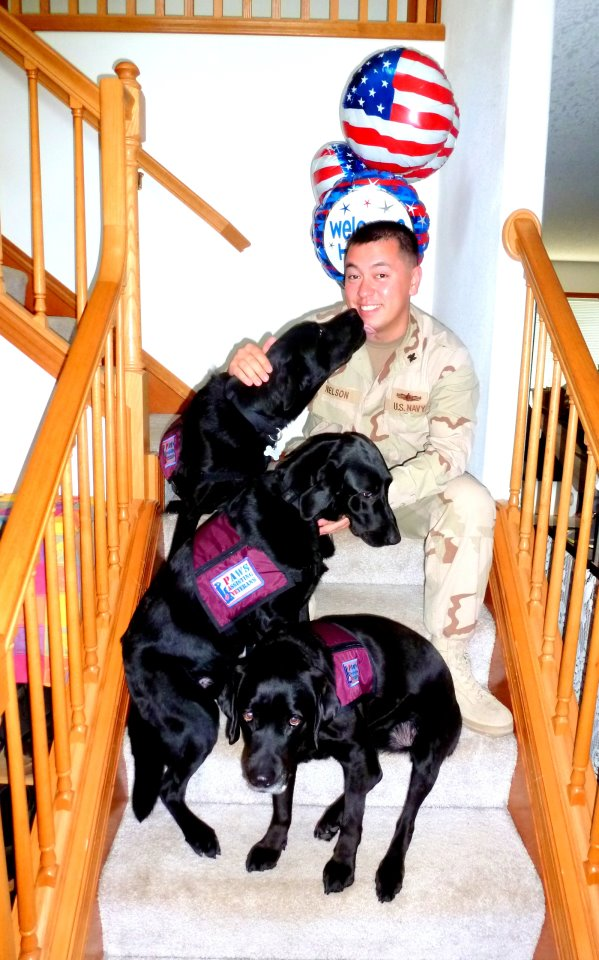 Navy Lieutenant Ken Nelson upon his return from Iraq with several PAVE dogs.  Lt. Nelson sponsored a service dog to support his comrades in arms.