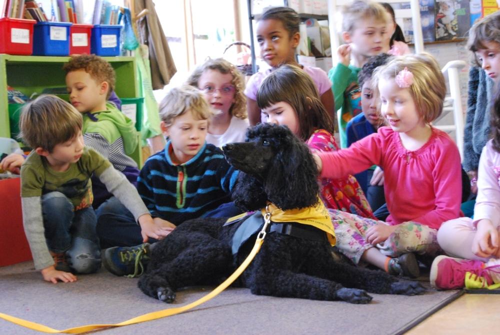 Sarena visiting kids at The Emerson School