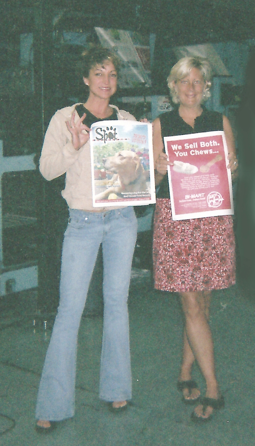 Jennifer McCammon (L) and Jenny Kamprath celebrate the first issue of Spot – Aug. '05, hot off the press
