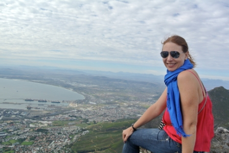 LeRae sitting on Table Rock Mountain in Cape Town