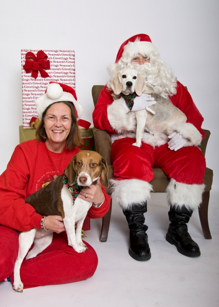 Max and Chloe with dogmom Jayne and Santa   ~ Jayne Bailey