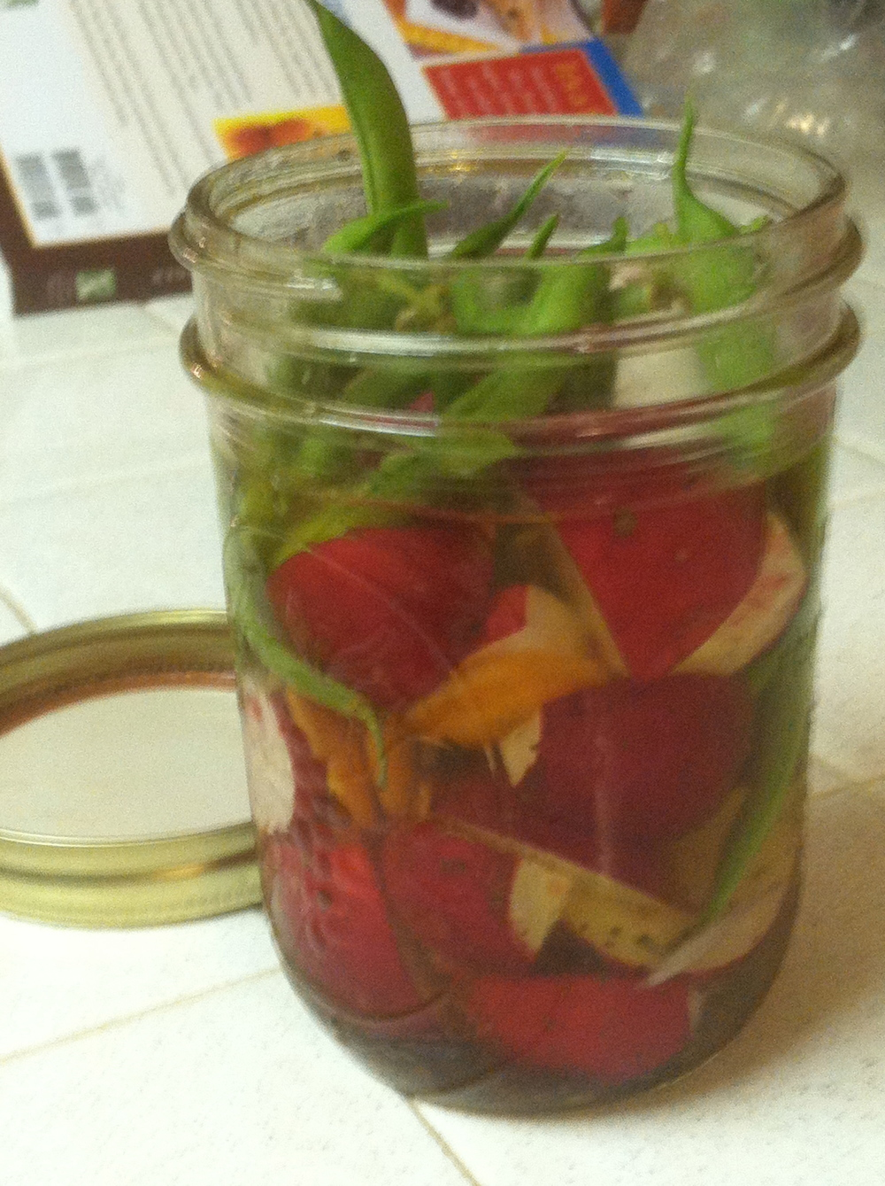 yummy fridge pickles, which will be gobbled nearly immediately by McFarmer.