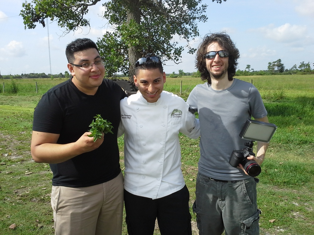 Rommel Gonzalez, Joe Cervantez and Brandon their lovely photographer looking happy and hot at the farm!