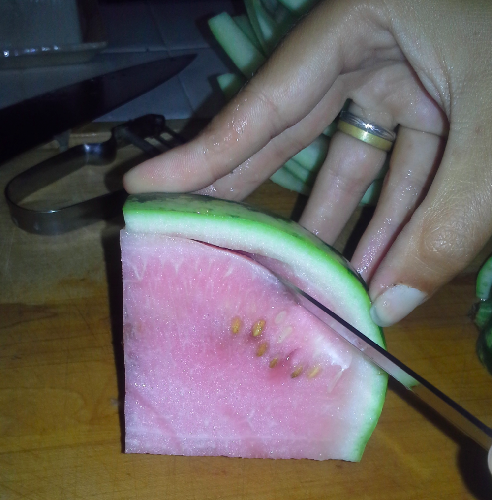 The most recent melons on our older vines aren't suitable for eating, but their rind is purrfect for pickling!