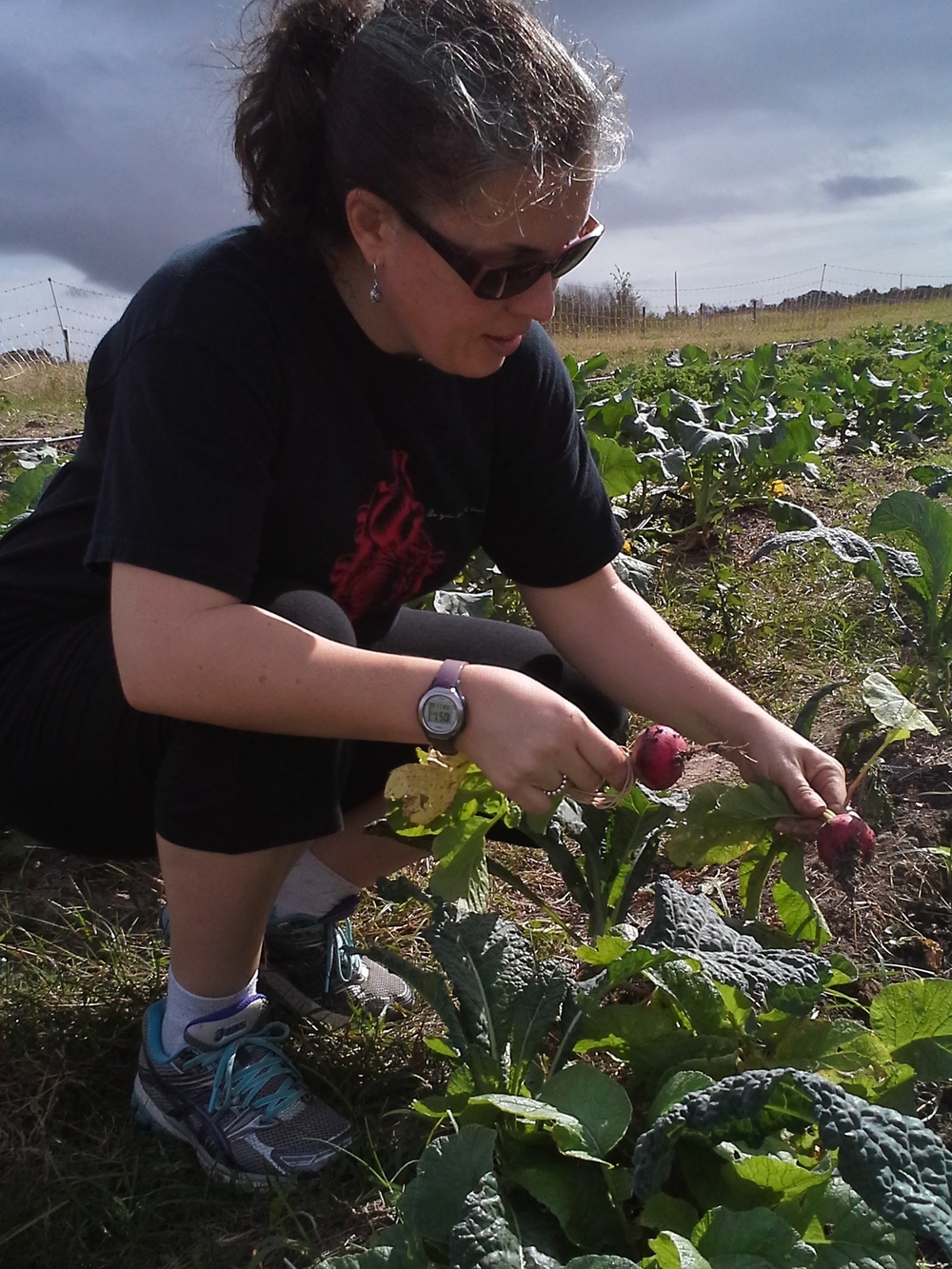 My sister Julia helping with the radish harvest.