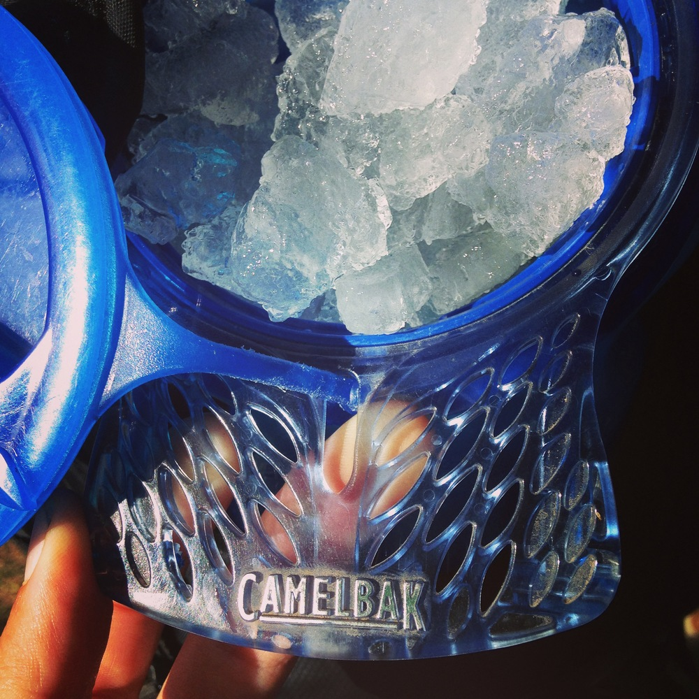 Ice in the camelbacks keep us cool and prevent brain-meltage.