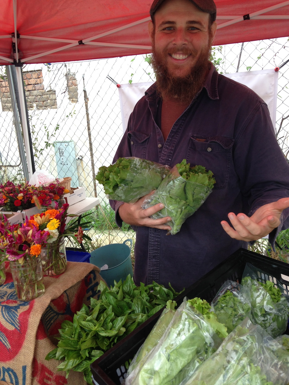 McFarmer manning the booth at last week's market. Ain't he cute?