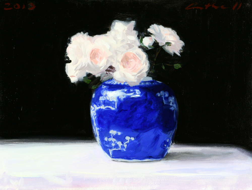 Still Life with   Roses,   Oil on Linen, 30 x 40cm, 2013