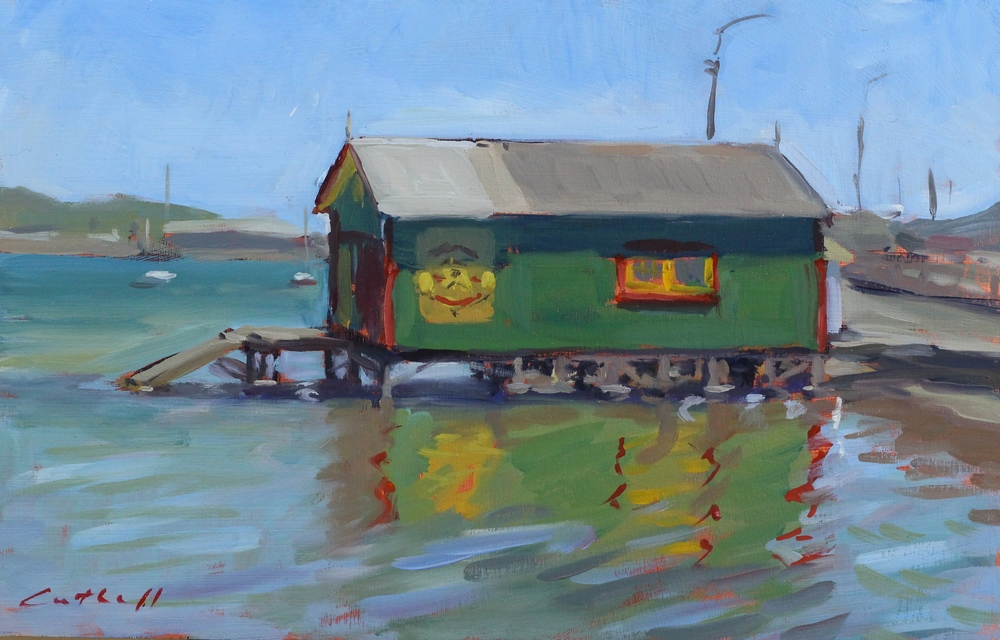Havana Boatshed in Wellington Sketch,  Oil on Board, 20 x 30cm, 2015
