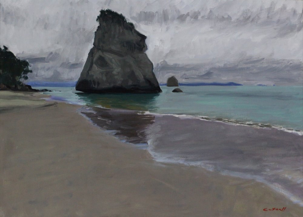 Te Whanganui-a-Hei, Cathedral Cove, Grey Morning,   Oil on Canvas, 49 x 70cm, 2017
