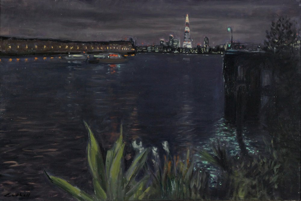 Thames at Night,  Oil on Canvas, 59 x 90cm, 2017