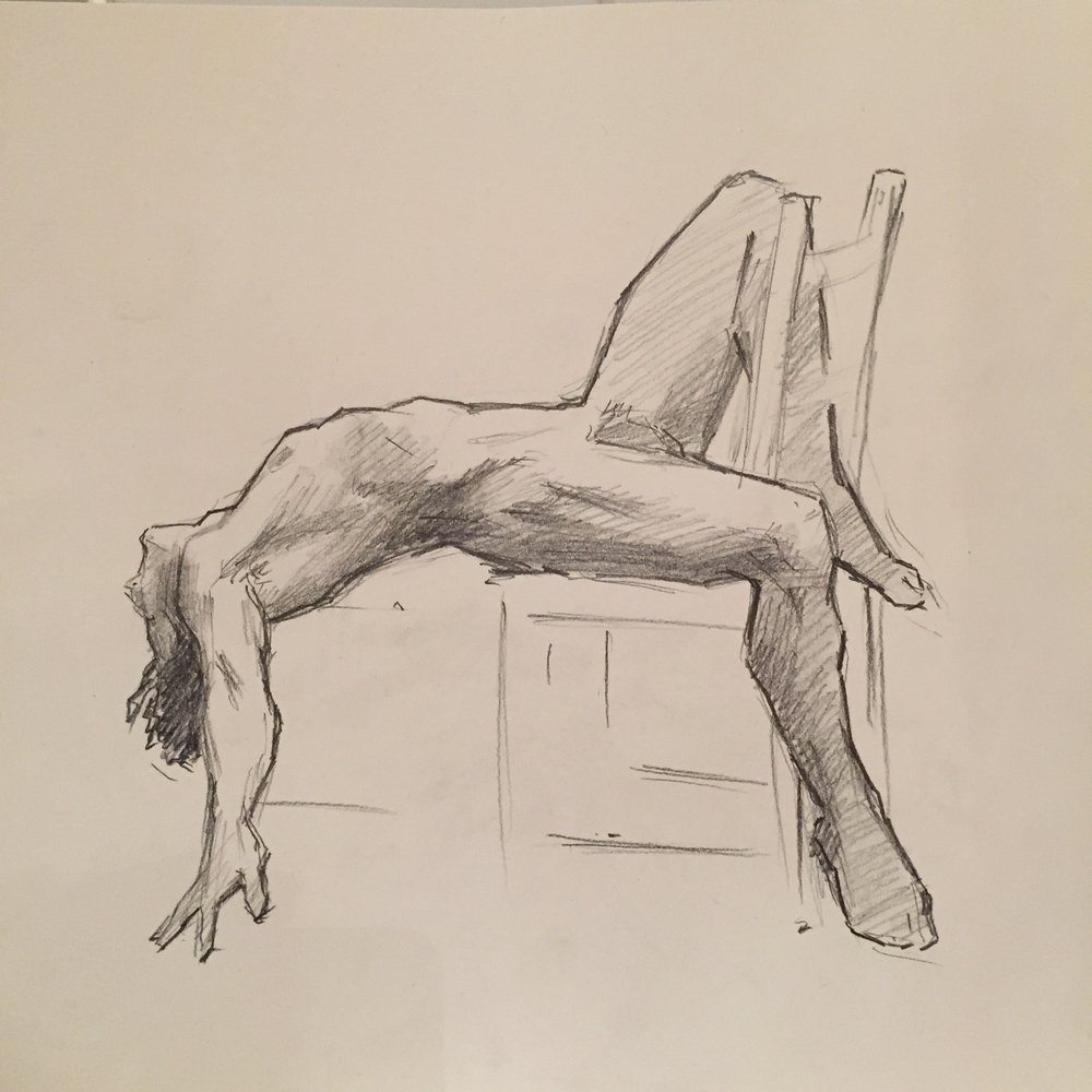 Nude Sketch,  Pencil on Paper, 30 x 30cm, 2018