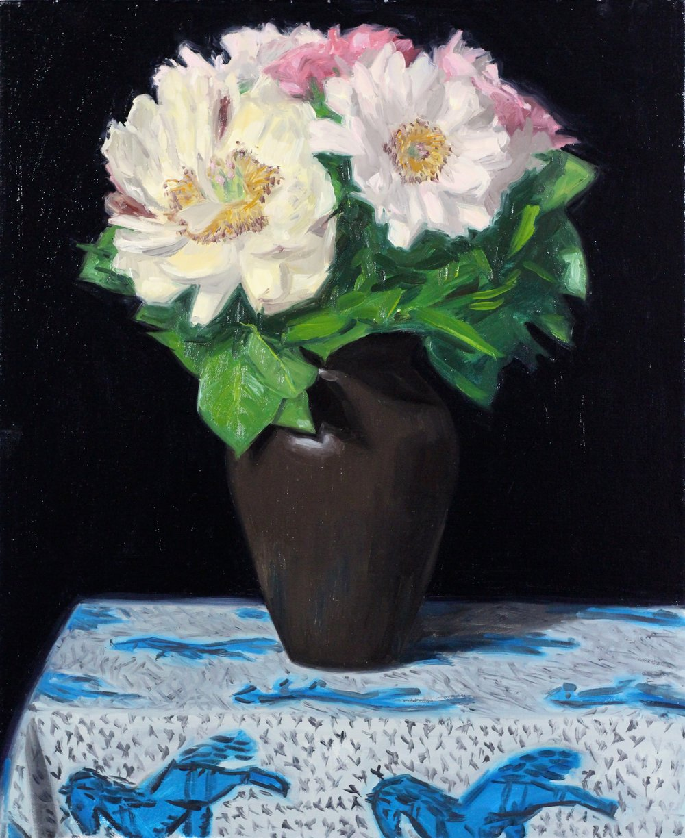 Peonies,  Oil on Canvas, 60 x 50cm, 2017