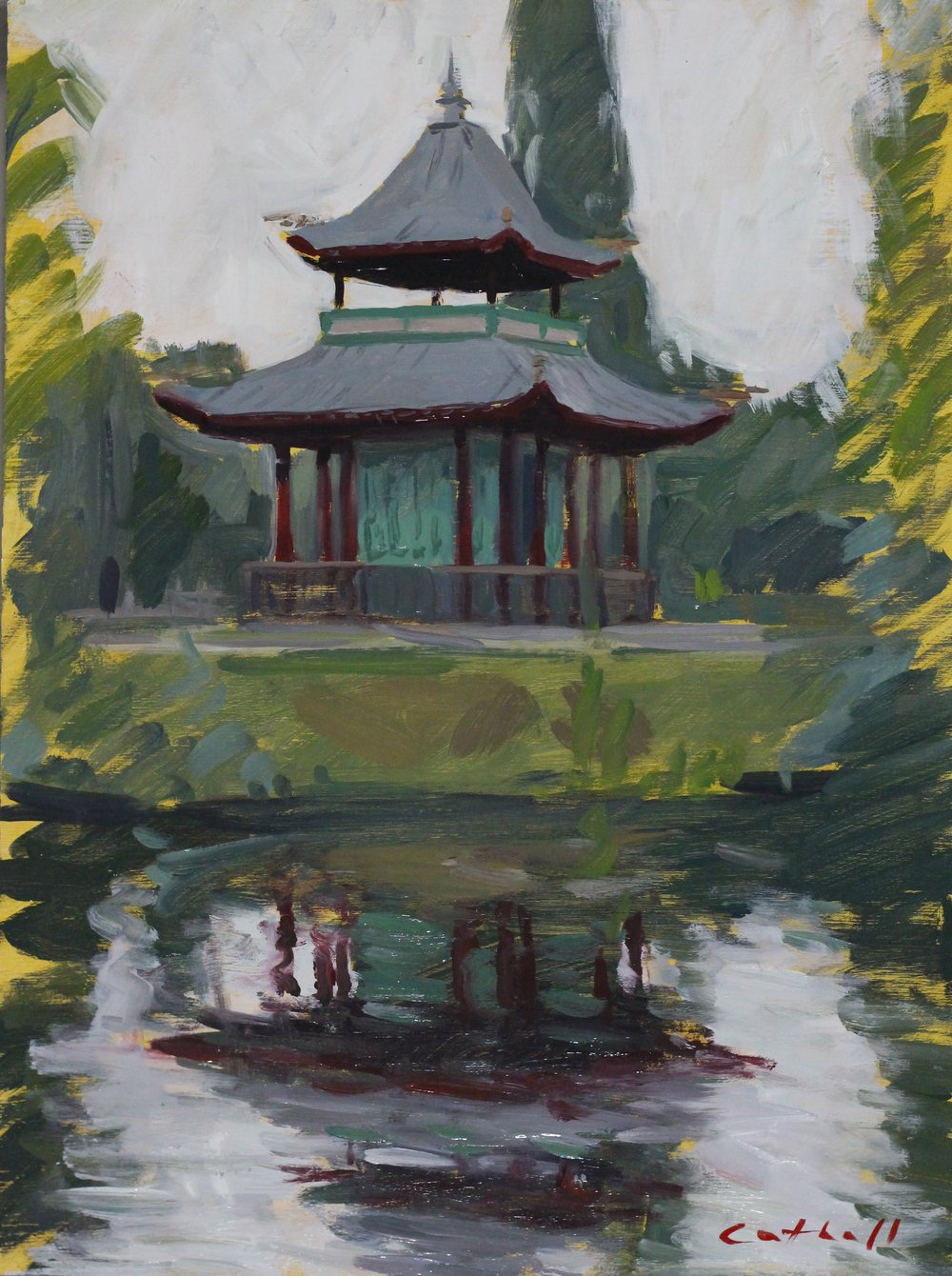 Pagoda, Victoria Park,  Oil on Panel, 35 x 25cm, 2017