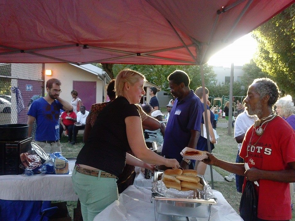 BNA board member Jessie Blanchard serves up BBQ with Oreatha Johnson from Integrity Catering.