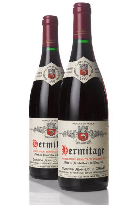 LOT 593. HERMITAGE ROUGE 1990 JEAN-LOUIS CHAVE (12 BOTTLES). ESTIMATE $6,000–9,000.