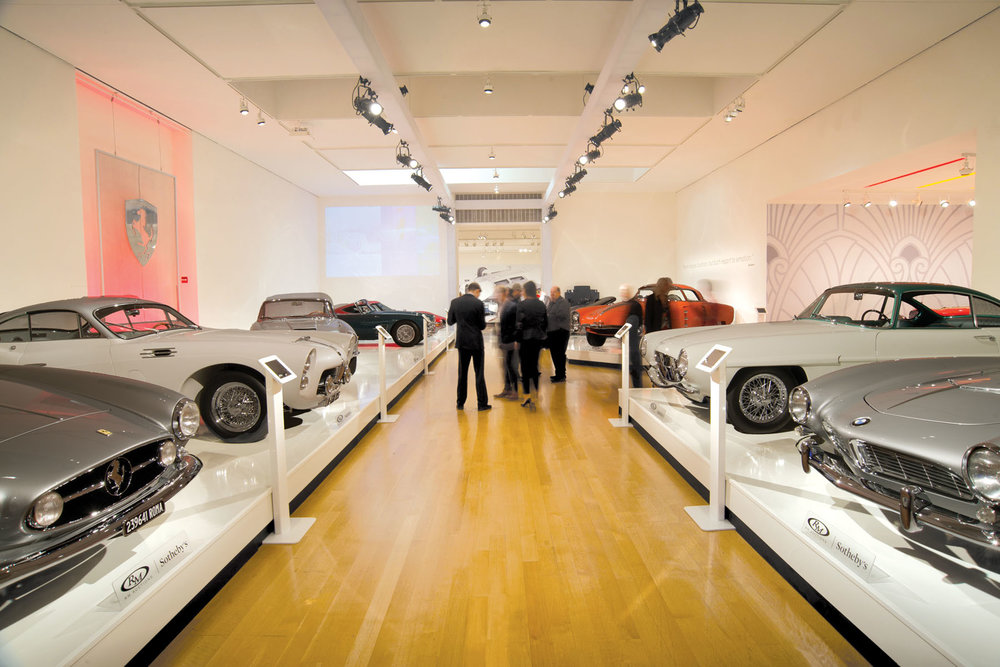 The showroom of collectible cars at the Sotheby's auction, Art Of the Automobile, in New York