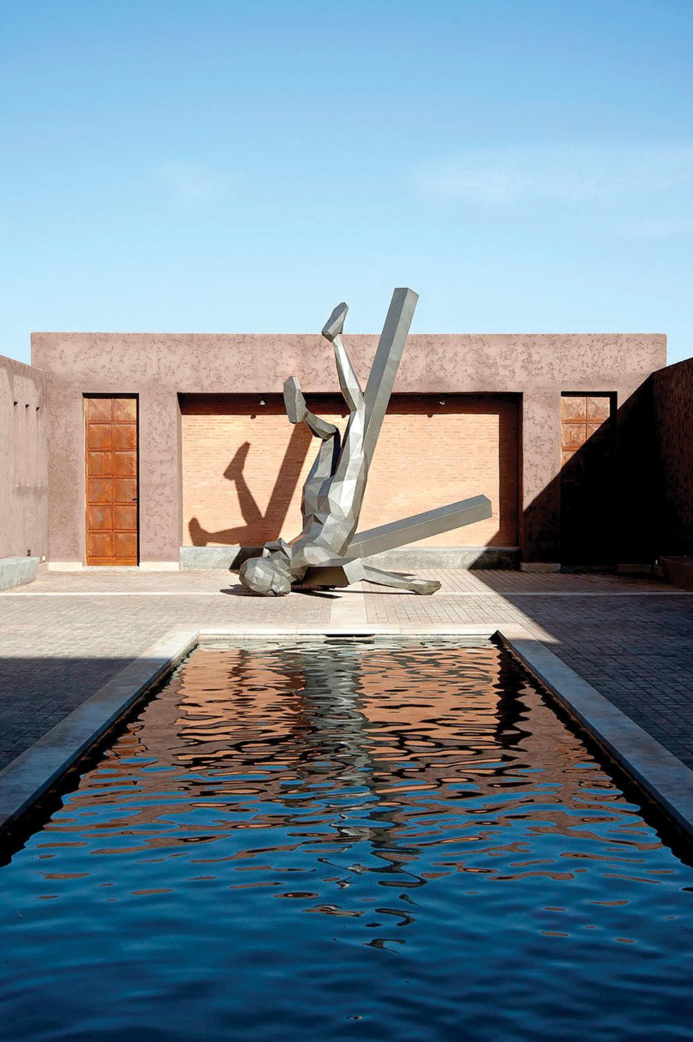 French artist Davis Mesguich's Fallen Selfie sculpture