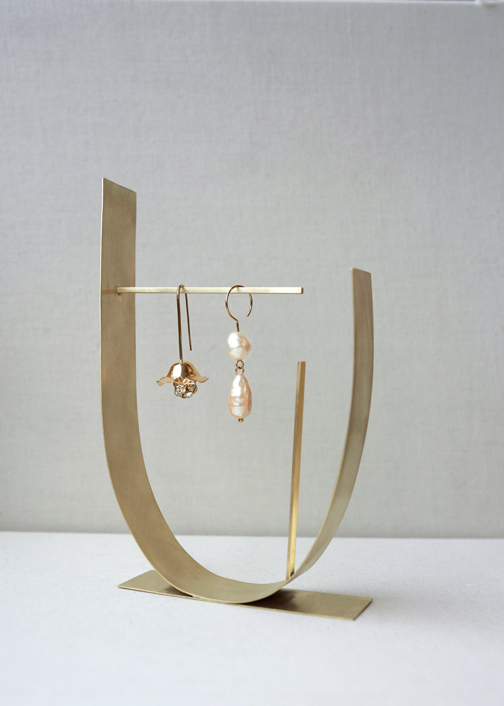 A sculptural metal jewellery stand designed by Parris for their brand's new lifestyle line.