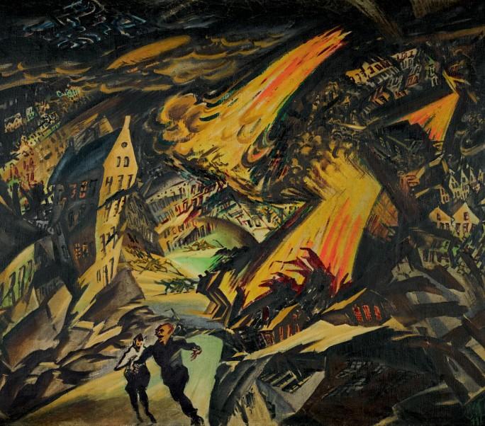 Ludwig Meidner,  Apokalytpische Landschaft  and  Junger Mann mit Strohhut  (Young Man with Straw Hat) – verso, 1912 $12,000,000–18,000,000