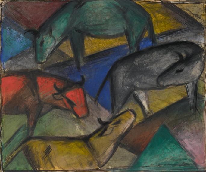 Franz Marc,   Kühe     (Cows), 1 912. Estimate $1,500,000–2,000,000,