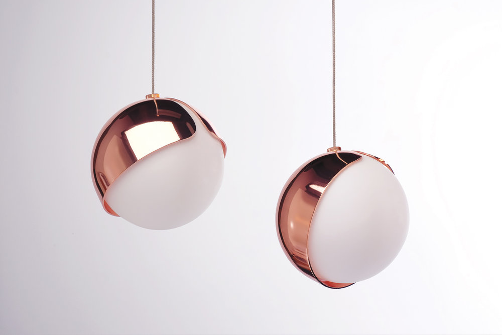 Toronto studio Anony's Ohm pendant features an orbiting metal shade