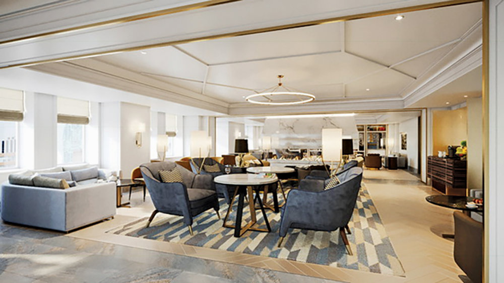 A rendering of Champalimaud's design shows the Royal York Gold Lounge at the Fairmont Royal York in Toronto