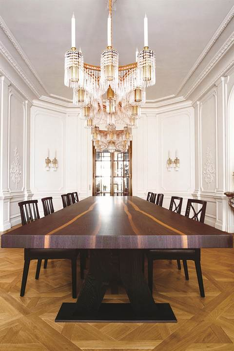 """- """"The architecture in Parisian-style residences typically features quite elaborate ceilings, so I recommend incorporating dramatic floor lamps, table lamps, and wall sconces, which will brighten a room even when not illuminated"""" - Aline Hazarian"""