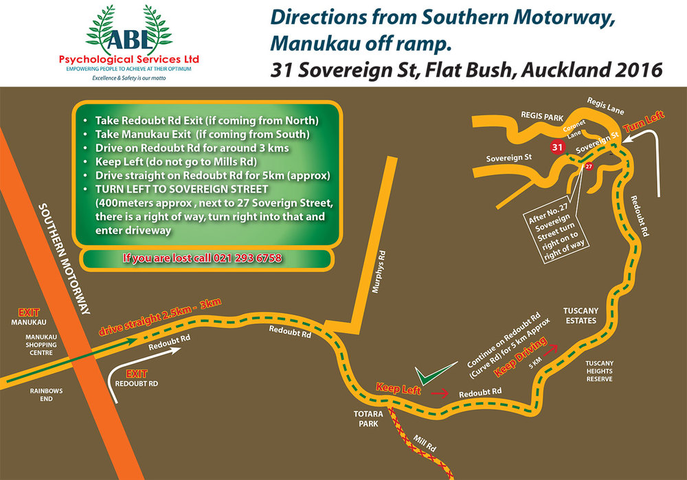 Driving Instructions from Southern Motorway, Manukau off-ramp. To download this in pdf format click  here