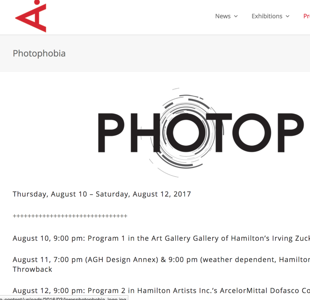 2017: Photophobia, Hamilton Artists Inc.
