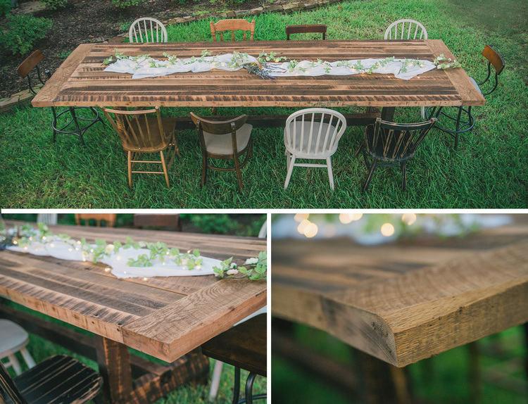 So   my talented husband made a huge 12 ft  table  Reclaimed wood from an  old smoke house in Tennessee  Props to Good Wood Nashville as an awesome  supplier. Deerman Designs 12ft reclaimed table   Lainie Deerman Photography