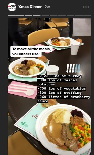 IG story - The IG story offered a big-picture view of the dinner — a breakdown of the food and volunteers — plus what was new about the event this year (the last dinner being served at the women and families centre before a renovation).
