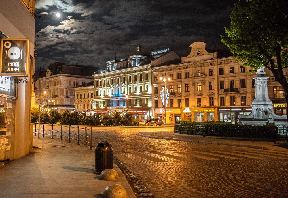 Lviv at night.